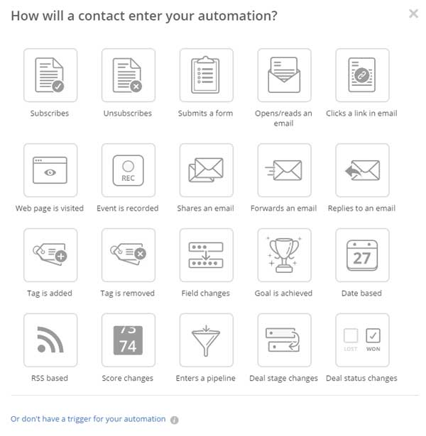active campaign contact enters automation